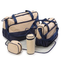Wholesale Mom Bag Set - Wholesale-Diaper Bag For Mother Baby Bags Luiertas Maternity Infant Stuff Mom Storage Bags Mummy Package Diapers Bag For Mommy 5 pcs set