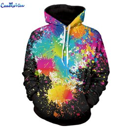 Wholesale Cool Color Paintings - Wholesale- Men Women Fashion Hoodies 3D Printing Bright Color Paint Patterns Cool Sweatshirt For Men Women High Quality Wholesale 1