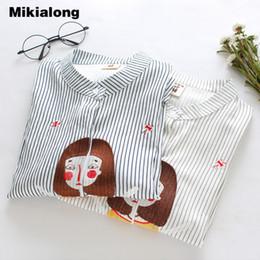 Wholesale Women Blouse Cartoon - Cartoon Girl Embroidery Women Blouses 2017 Casual Cotton Short Sleeve Striped Shirt Loose Summer Tops Blusas Femme