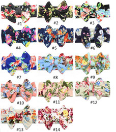 Wholesale child prints - 14 color Big bow belt Children printing Kids Baby Flower Headbands 2017 new Bohemian Hair Accessories Head Wrap Girls Childrens