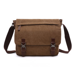 Wholesale Strap Bags For Men - Fashion messenger bags Crossbody bag Flapover laptop bag Ipad canvas day packs for boys young men Straps Medium Large 2017 new hotsale
