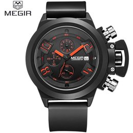 Wholesale Water Resistant Stop Watch - MEGIR brand silicone band analog Chronograph stop watch military army styligh mens watches top brand luxury Silica gel watch