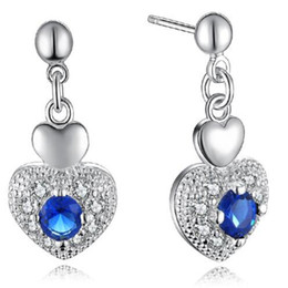 Wholesale Swarovski Crystals Rhinestones Stones - 925 Sterling Silver Plated Cute Heart Stud Earring DHL Love Wedding Blue Swarovski Elements Austrian Crystal Stone Earring Jewelry for Girls