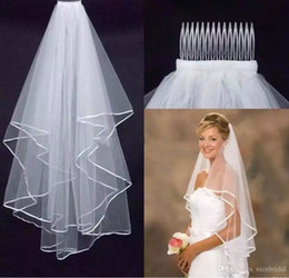 Wholesale Tulle Crochet - Cheap Bridal Veils 2 Layers Tulle with Comb 2017 Simple for Wedding Party Accessories Beautiful Tulle Fast Shipping Stock
