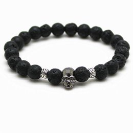 Wholesale Skull Indian - Black Beads Natural Stones Skull Bracelet For Women Lava Stone Beads Men Bracelet Black Lava Beads Bracelets Pulseras Mujer