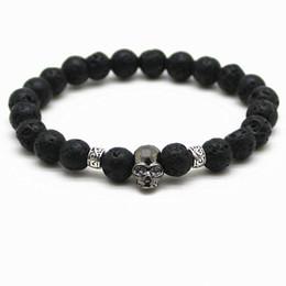 Wholesale Titanium Black Stone - Black Beads Natural Stones Skull Bracelet For Women Lava Stone Beads Men Bracelet Black Lava Beads Bracelets Pulseras Mujer