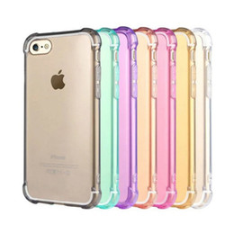 Wholesale Iphone 5s Clear Case Rubber - Airbag Shockproof Transparent Soft Thicken TPU Case For iPhone 5S SE 6 6S 7 Plus Clear Gel Rubber Bulky Back Corner Cover Shell