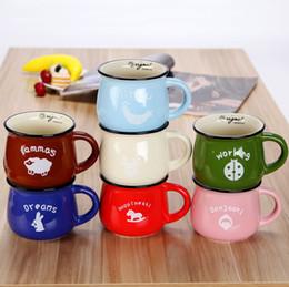 Wholesale Milk Retro - High Quality Cute Mug Retro Creative Cartoon Enamel Cup Belly Milk Breakfast Cup Coffee & Tea Cup Lovely Ceramic Mug