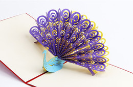 Wholesale 3d Handmade Card Designs - free shipping Handmade 3D Pop Up birthday Wedding party Card Peacock Design Christmas Postcard New Year Greeting Card
