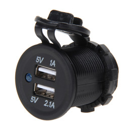 Wholesale 12v Lighter - Wholesale- 2016 New 12V Dual USB Car Motorcycle Cigarette Lighter Socket Splitter Charger Power Adapter Outlet Power Mobile Phone Charger