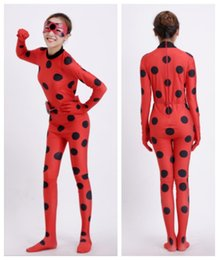 Wholesale Kids Catsuit Costume - Best Quality In Stock Kid size   Adult size Miraculous Ladybug Cosplay With Mask Ladybug Red zentai Suits Ladybug costume