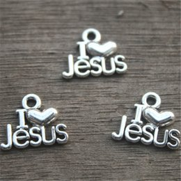 Wholesale I Jesus - 20PCS--I Love Jesus Charms, Antique Tibetan Silver Tone Christian Pendants, Christ Charms, Christianity,16x13mm