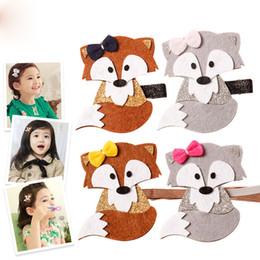 Wholesale Fox Hair Design - New Cute Baby Kids Girls Fox Hairpin Headbands Woodland Cartoon Hair Clip Brown and Gray Color Double wear Design