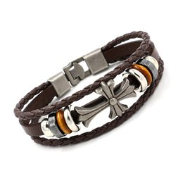 Wholesale Christian Jewelry For Women - Cross Charm Bracelets Vintage Christian Beadede Multilayer Leather Bracelets for Men Women Religious Bangle Fashion Jewelry