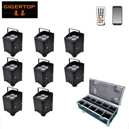 Wholesale software wholesalers - Gigertop 8in1 Charging Flightcase Pack 4x6W Silent Battery Wireless Aluminum Led Par Cans No Fan Running 10000MAH Andrid Iphone Software