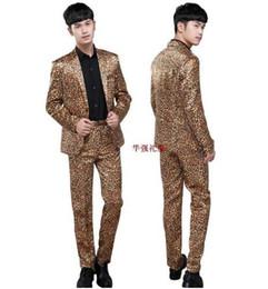Wholesale Costume Performing Stage - Performing singer leopard blazer men formal dress latest coat pant designs suit men costume homme terno slim suits men's stage Spike