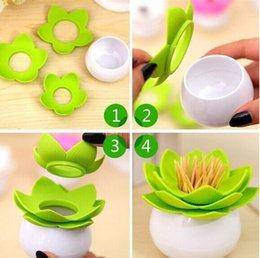 Wholesale Dispenser Candies - New Candy Color Lotus Dental Floss Toothpick Cotton Bud Holder Storage Swab Box Party Toothpick Dispenser Dinning Room Decoration