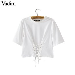 Wholesale Wholesale Bow Crop Tops - Wholesale- Women sweet lace up crop top T shirt short sleeve casual O neck tees ladies fashion streetwear tops Camisetas DT956