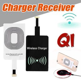 Wholesale Qi Charger Sticker - Qi Wireless Power Charger Receiver Module Sticker High Speed Charging Adapter For iPhone 7 Plus 6 6S SE 5S 5 Samsung Note 8 S8 S7 Edge