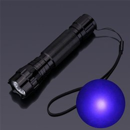 Wholesale Wholesale Battery Ends - High End UV LED 365NM Ultra Violet Light Blacklight Wavelength Flashlight Torch Light Lamp 18650 or 3*AAA Battery