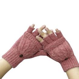 Wholesale Gloves Half Fingers Flip - Wholesale- 2017 Thermal Women Girl Winter Half Finger Gloves Flip Knitted Mittens Autumn Warm Flanging Glove Mitten Fashion Guantes Mujer