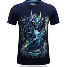 Wholesale Biggest Big - Wholesale- tall and big mens 2016 Men Fashion 3D Creative T-Shirt droplets 3d printed Dragon short sleeve T Shirt S-6XL biggest size
