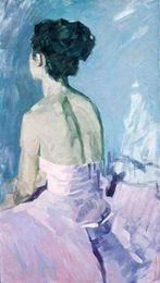 Wholesale female figure art - Framed Handpainted female portrait Art Oil Painting On Canvas,ballet girl sitting in Dance Room Multi sizes Free Shipping Ab111
