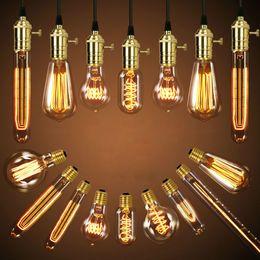 Wholesale Led Light Bulb A19 - Antique Vintage Retro Edison Light Bulbs 220V 110V E27 40W Incandescent Light Bulbs G80 G95 A19 T10 T45 T185 T300 ST64