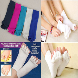Wholesale Toes Alignment Socks - Comfy Toes Sleeping Socks Massage Five Toe Socks Happy Feet Foot Alignment Socks free shipping