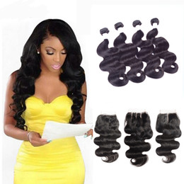 Wholesale Indian Body Wave Lace Closure - Brazilian Body Wave Hair Weaves 4 Bundles with Lace Closures Free Middle 3 Part Double Weft Human Hair Extensions Dyeable 80g pc No Shedding