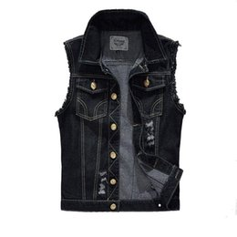 Wholesale Ripped Vest Top - Denim Vest Mens Jackets Sleeveless Fashion Washed Jeans Waistcoat Mens Tank Top Cowboy Male Ripped Jacket Plus Size 4XL EDA359