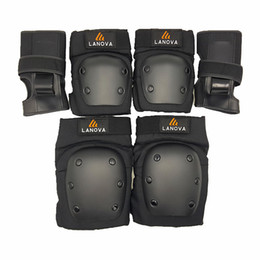 Wholesale Roller Protections - Wholesale- LANOVA 6pcs Set protective patins Set Knee Pads Elbow Pads Wrist Protector Protection for Scooter Cycling Roller Skating