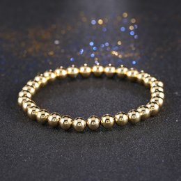 Wholesale Titanium Bracelets For Mens - Wholesale-4Color Fashion Bracelets Gold Plated 6MM Round Beads Wrap Titanium Steel Bead Bracelets For Women mens stretch rope bracelet