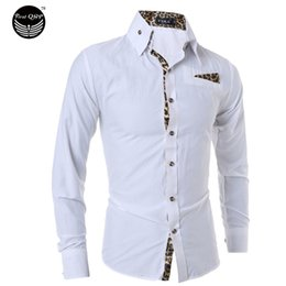 Wholesale Leopard Print Dress Shirt Men - Wholesale- Male Tops White Men Shirt 2017 Brand Long Sleeve Mens Dress Shirts Camisa Leopard Print Black White Casual Shirts XXL