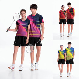 Wholesale Table Tennis Shirts Women - VICTOR Badminton Shirt Couples Unisex Shirts,Table Tennis Jersey Plus Size Breathable Quick Dry Man Women VICTOR T-shirt Jersey shorts