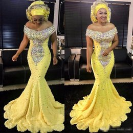 Wholesale Satin Bright Orange Short Dresses - Gorgeous Bright Yellow Mermaid African Evening Dresses Off The Shoulder Beaded Crystal Prom Dresses Long Evening Party Dress Vestidos