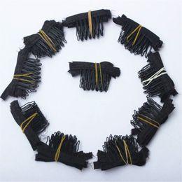 Outils pour faire des perruques en Ligne-Peignes de perruque couleur noire Clips et peignes de perruque avec 5teeth Pour le chapeau de perruque et les perruques