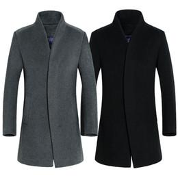 Wholesale Unique Wool Coats - Wholesale- 2017 Unique Latest Trench Coat Men Covered Button Trench Men Outerwear Casual Coat Men's Jackets Windbreaker Mens Trench Coat