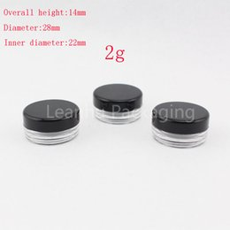 Wholesale Display Glass Bottle - 2g small transparent empty cosmetic container black sample plastic cream jars cosmetic packaging ,makeup display tin Mini bottle