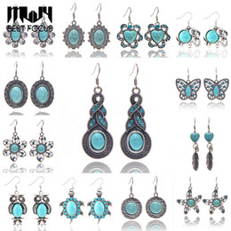 Wholesale Earrings Wholesale China - MLJY 2017 New Fashion Personalized Silver Plated Turquoise Drop Earrings for Women Brand Design Hot Sales Bijoux Jewelry 48 Pair lot