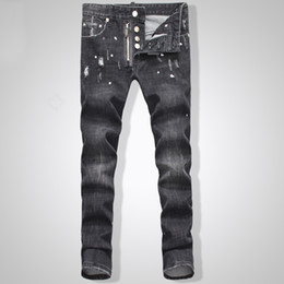 Wholesale Button Fly Men S Jeans - Wholesale-TOP Men's new Biker Oil Printed Jeans Classic Mens Fashion Brand High Quality Skinny Patchwork Denim for d2Jeans man1467