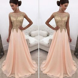 Wholesale Light Peach Chiffon Dress - 2017 Peach Sheer Crew Neck Long Prom Dresses Gold Lace Appliqued Cap Sleeves A Line Chiffon Formal Party Wear Formal Evening Dresses