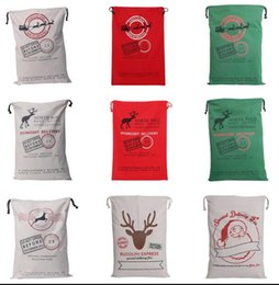 Wholesale Xmas Drawstring Gift Bag - Christmas Large Canvas Monogrammable Santa Claus Drawstring Bag With Reindeers Xmas Gifts Drawstring Canvas santa sacks KKA2123