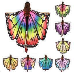 Wholesale Belly Dance Halloween Costumes - Free Shipping 8 Colours Women's Halloween Shawl Costumes Props Novelty Chiffon Dancing Wings Adult Belly Dance Butterfly Wings Accessory