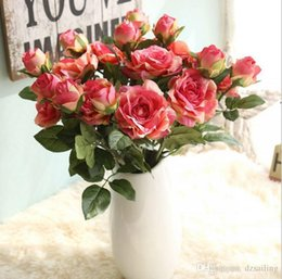 Wholesale Single Stem Silk Roses - New arrival single rose pick stem silk flowers 5 colors for wedding party centerpieces home holiday decoration 16042