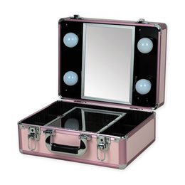 Wholesale Vanity Boxes - Wholesale- 2016 New Type Make up Vanity Box Case Contouring Beauty Kit Gift Set Mirror Storage Box 10 type with yellow or White Light