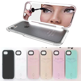 Wholesale Led Mirror Covers - LED selfie Case Estala Amiga Box Makeup Kits Make Up Mirror Cases Luminous Hard back cover cases for iphone 6 6s 7 plus with retail box