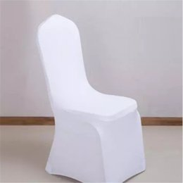 Wholesale Nylons Spandex Chair Covers - free shipping Universal White Wedding Banquet Folding Polyester Spandex Hotel Quality Chair Covers with 4 Pockets 100pcs 2017091201