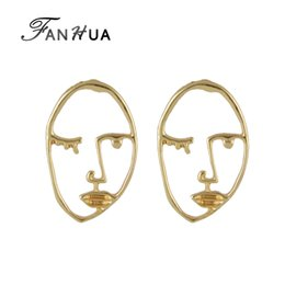 Wholesale Earrings Faces - Hiphop Rock Style Gold-Color Metal Face Geometric Stud Earrings Minimalist Fashion Jewelry For Women