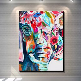 Wholesale Oil Paintings Elephants - Framed animal Vintage abstract elephant creative Hand-painted Colorful Animal Art Oil Painting On Thick Canvas Wall Decor Multi sizes r08